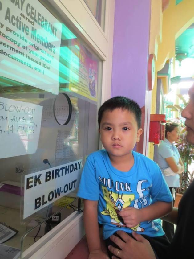 Birthday Boy Waiting for his EK Ticket